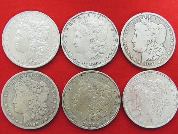 リバティーコイン6枚 モルガン1ドル銀貨