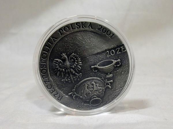 2001年 ポーランド 琥珀交易 20ズオチ 琥珀入り銀貨
